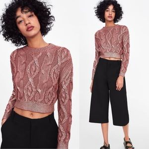 🆕ZARA Mauve Metallic Cable Knit Cropped Sweater